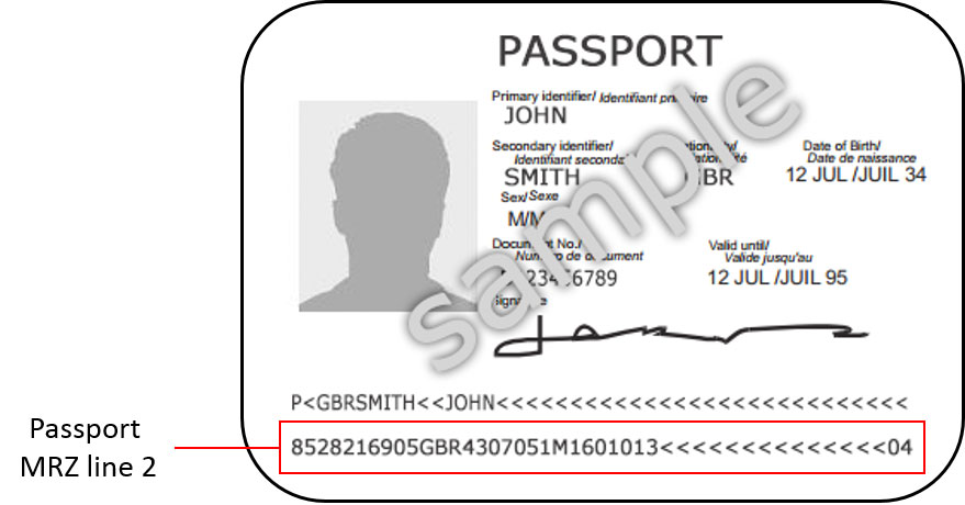 Passport MRZ Line Sample